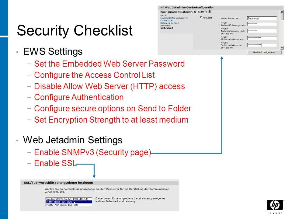 Security Checklist EWS Settings Web Jetadmin Settings