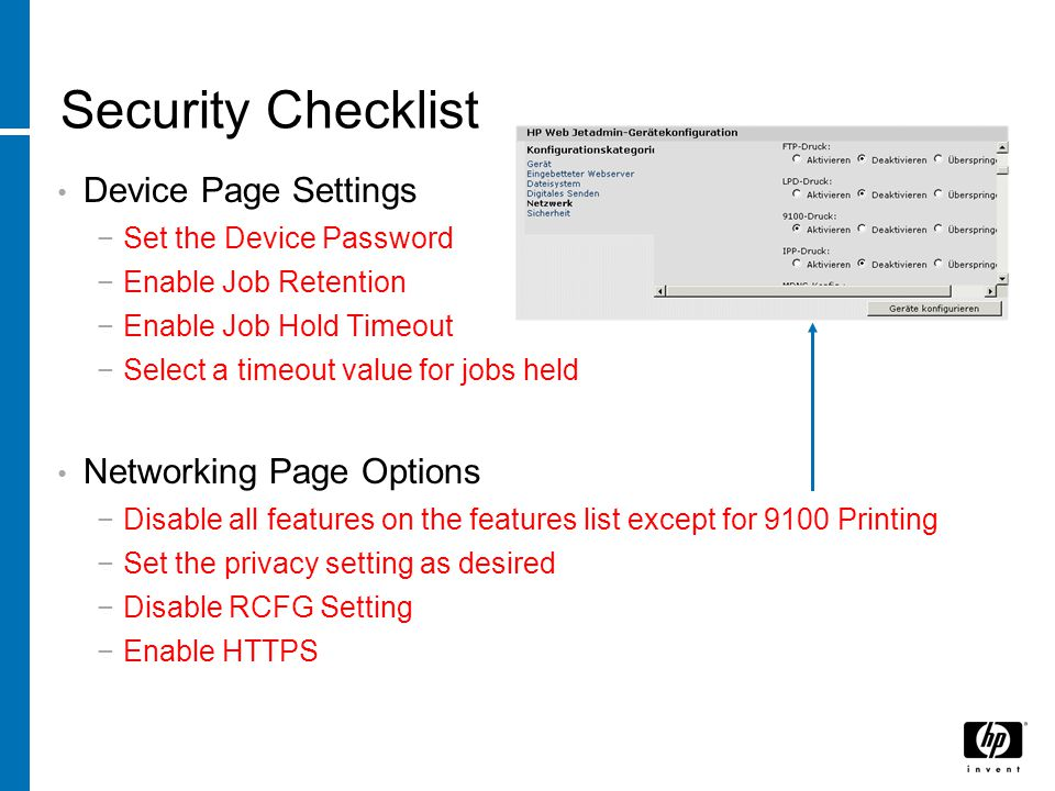 Security Checklist Device Page Settings Networking Page Options