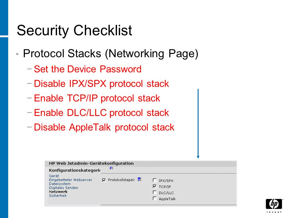 Security Checklist Protocol Stacks (Networking Page)
