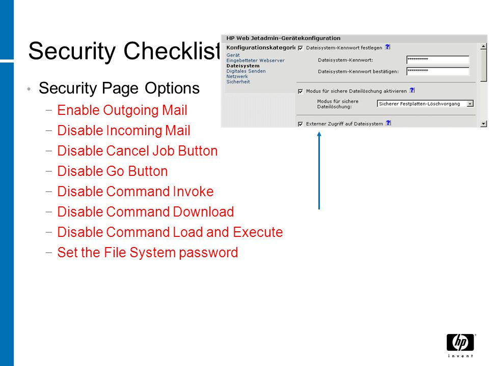 Security Checklist Security Page Options Enable Outgoing Mail