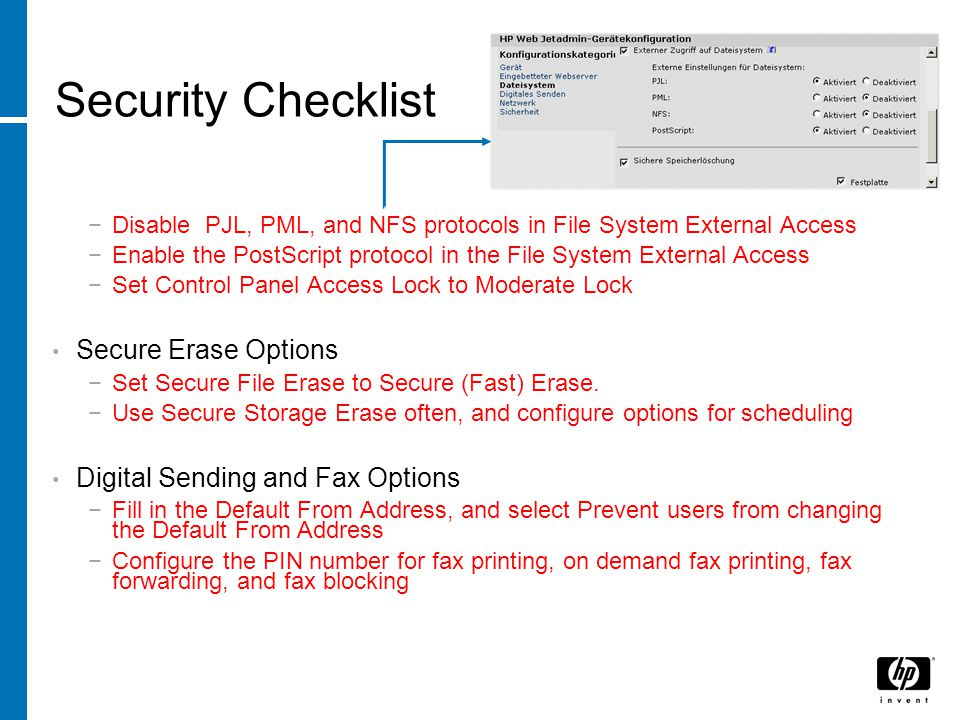 Security Checklist Secure Erase Options