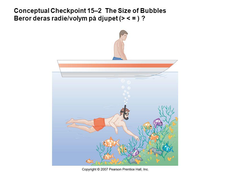 Conceptual Checkpoint 15–2 The Size of Bubbles Beror deras radie/volym på djupet (> < = )