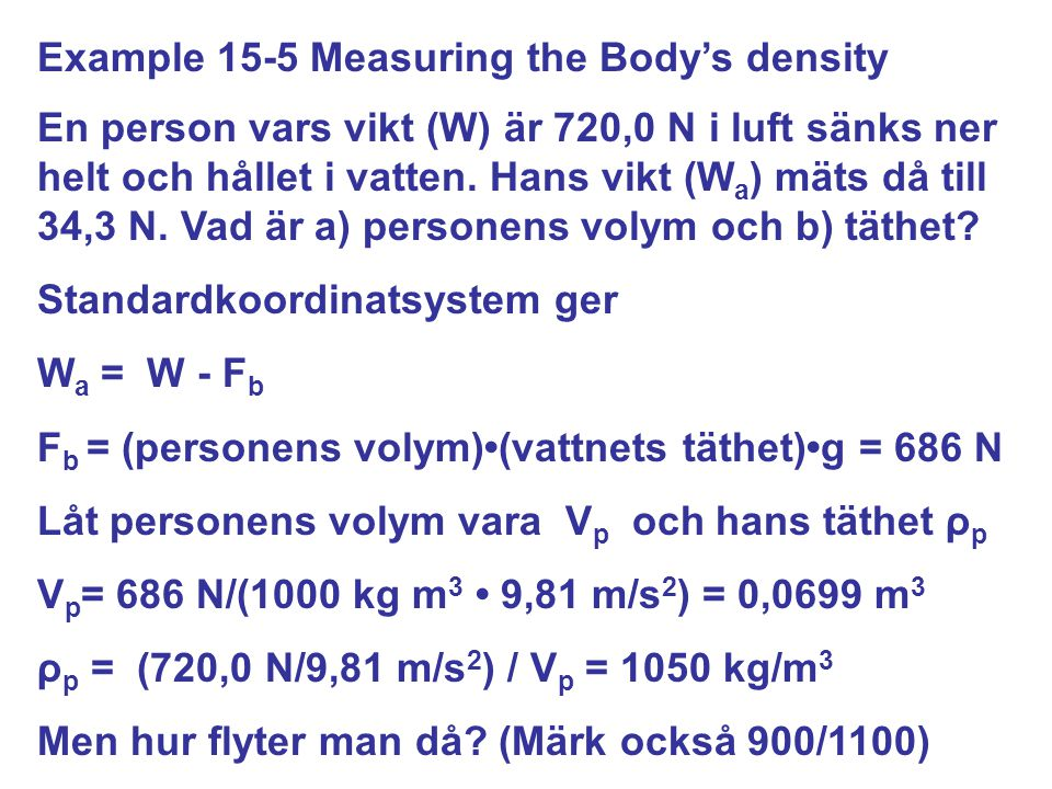 Example 15-5 Measuring the Body's density