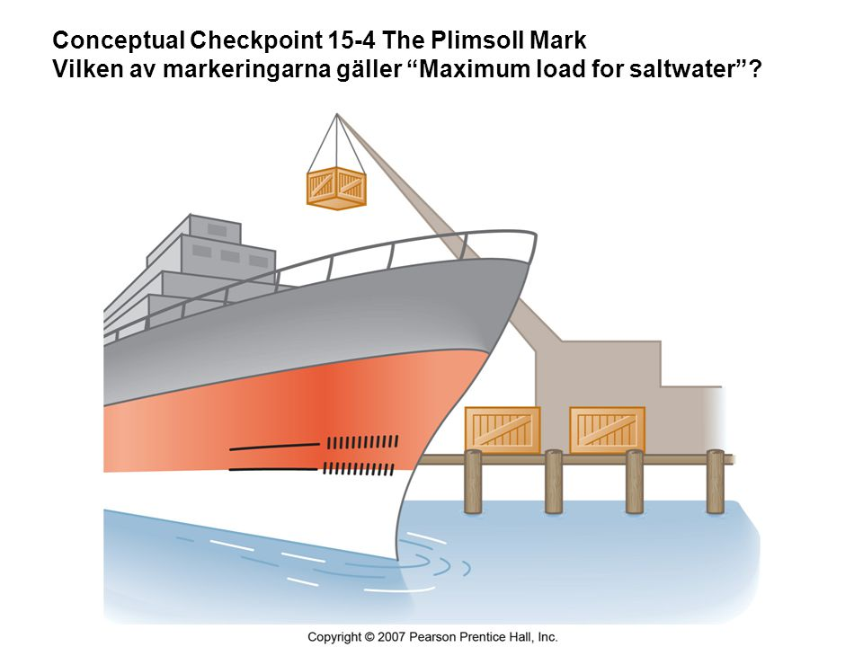 Conceptual Checkpoint 15-4 The Plimsoll Mark Vilken av markeringarna gäller Maximum load for saltwater