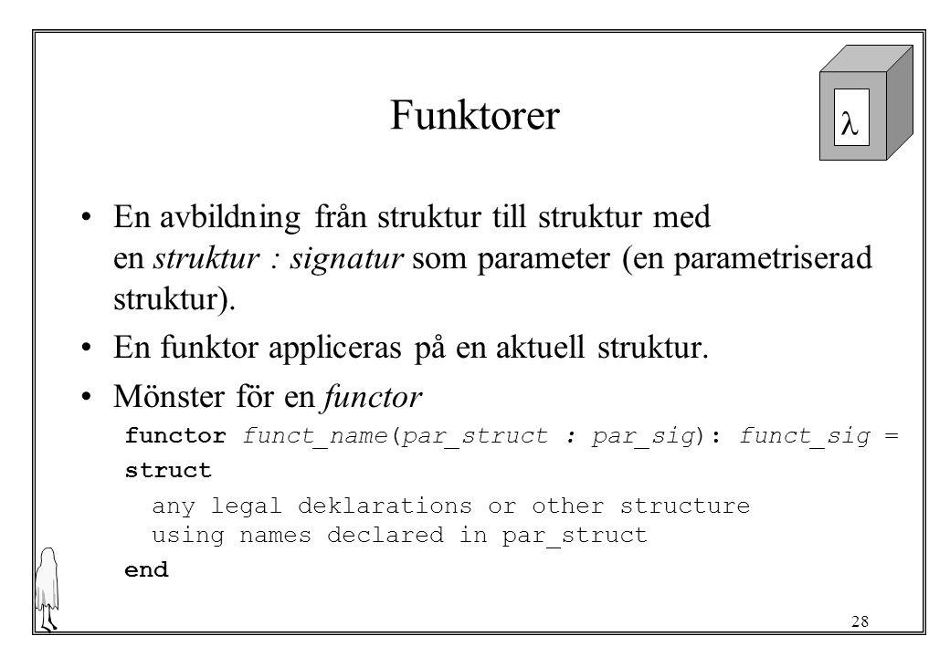 Funktorer En avbildning från struktur till struktur med en struktur : signatur som parameter (en parametriserad struktur).