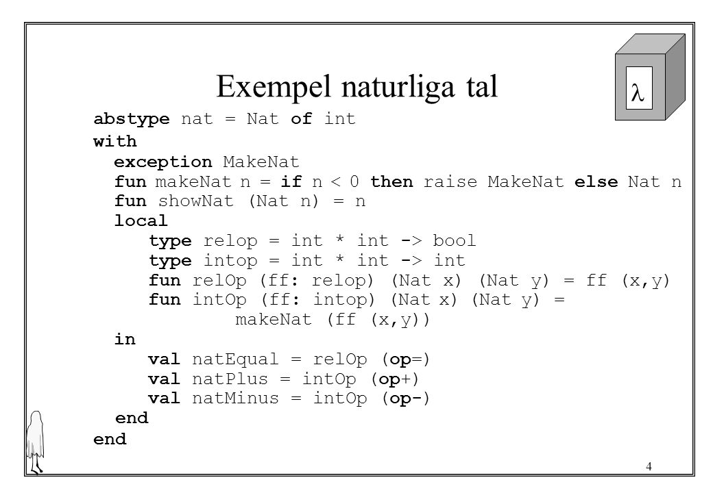 Exempel naturliga tal abstype nat = Nat of int with exception MakeNat