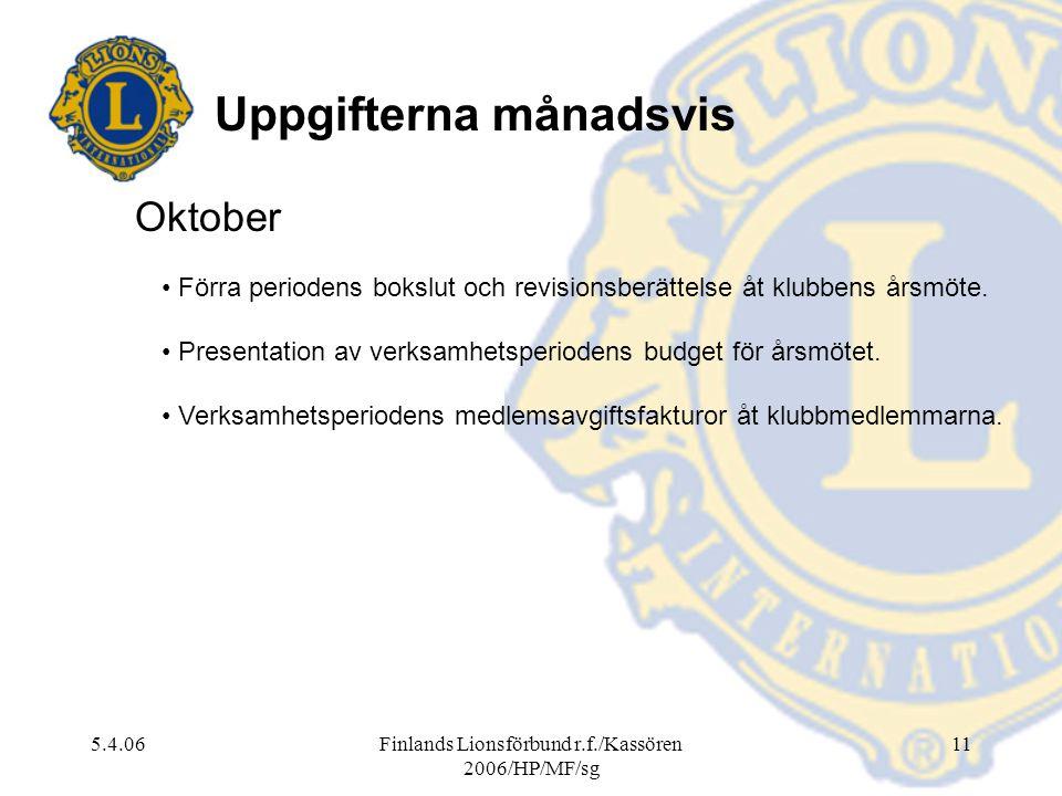 Finlands Lionsförbund r.f./Kassören 2006/HP/MF/sg