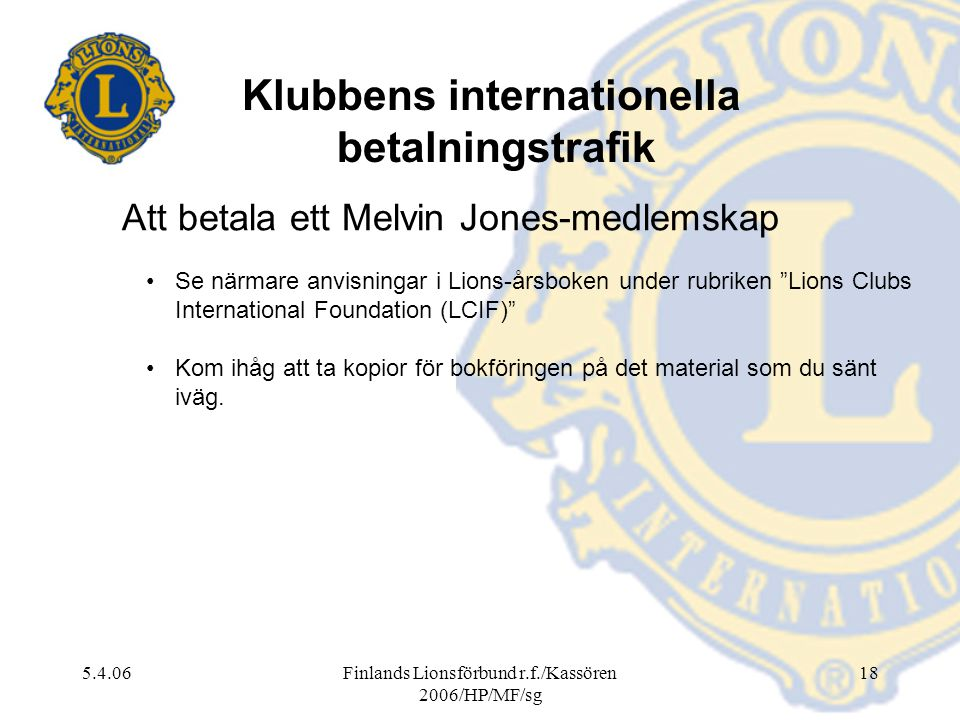 Klubbens internationella