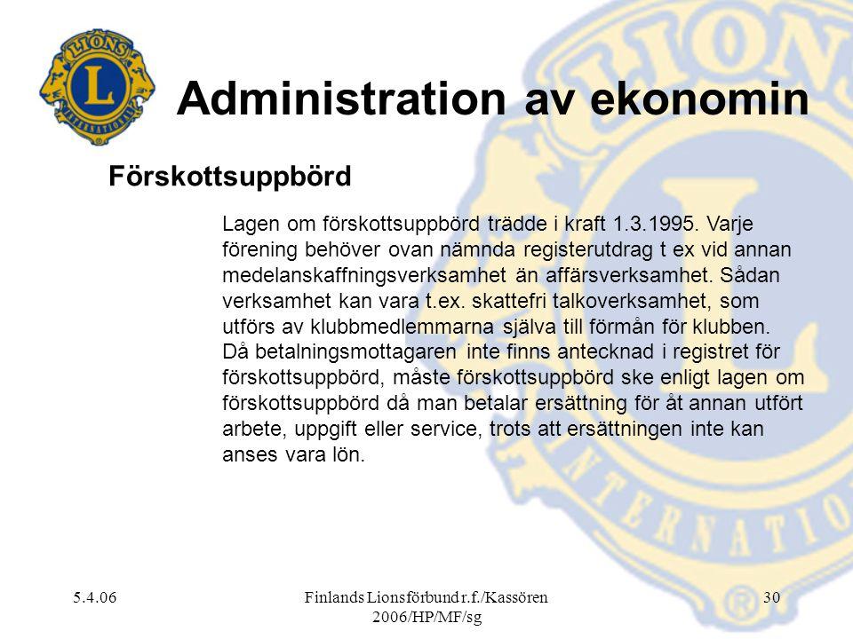Administration av ekonomin