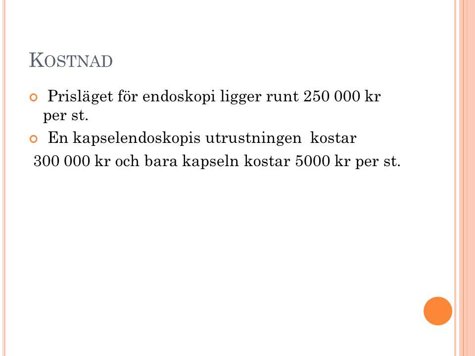 Kostnad Prisläget för endoskopi ligger runt 250 000 kr per st.