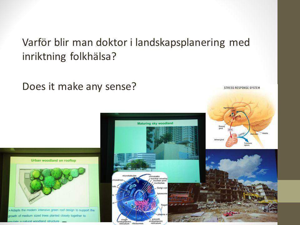 Varför blir man doktor i landskapsplanering med inriktning folkhälsa