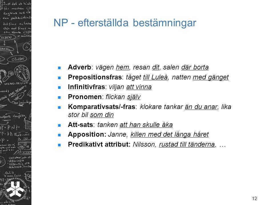 NP - efterställda bestämningar