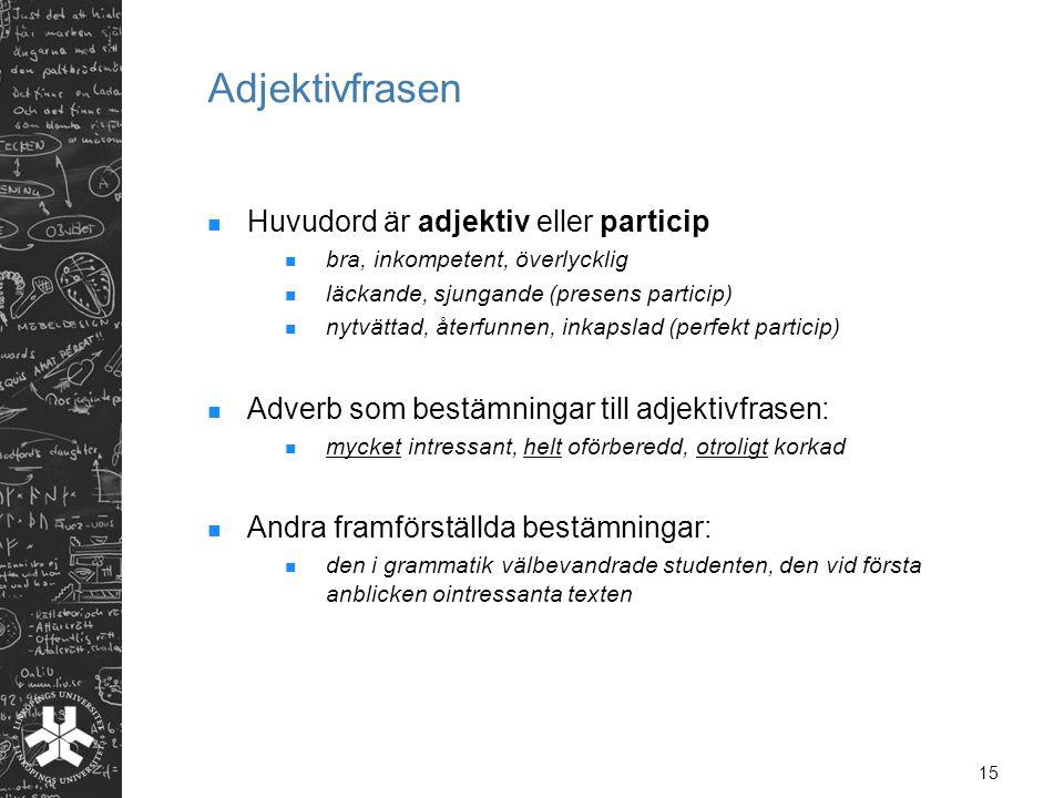 Adjektivfrasen Huvudord är adjektiv eller particip
