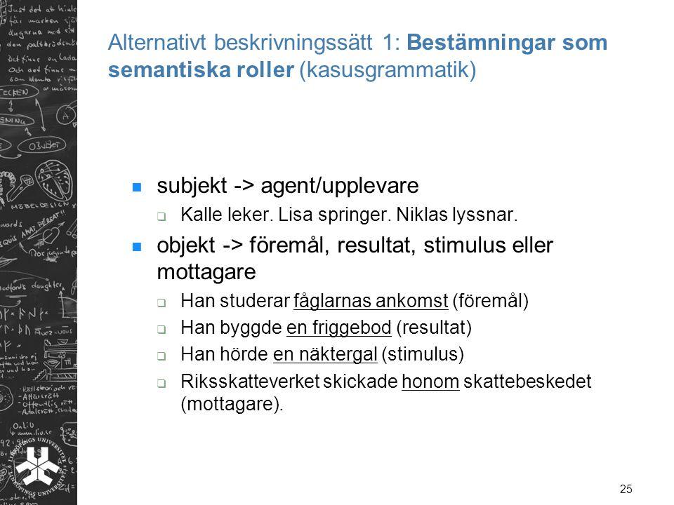 subjekt -> agent/upplevare