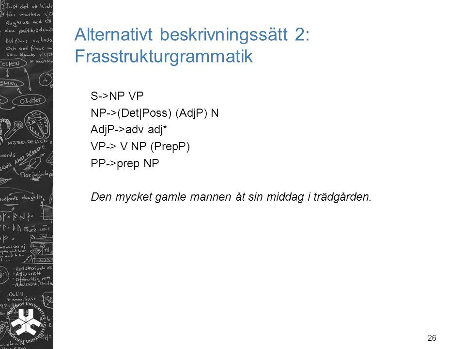 Alternativt beskrivningssätt 2: Frasstrukturgrammatik