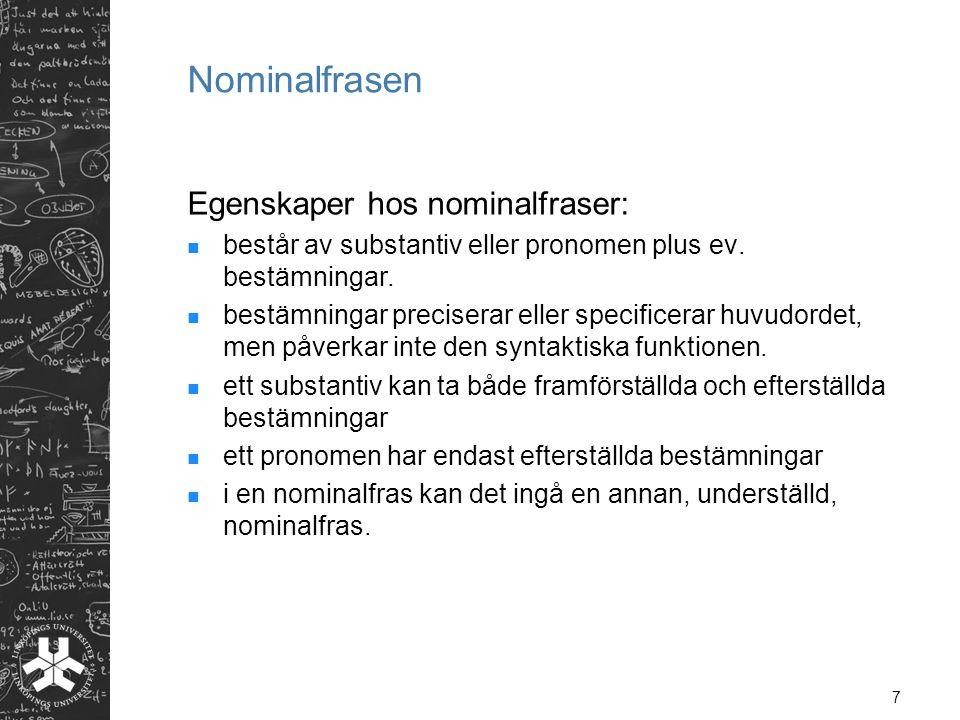 Nominalfrasen Egenskaper hos nominalfraser: