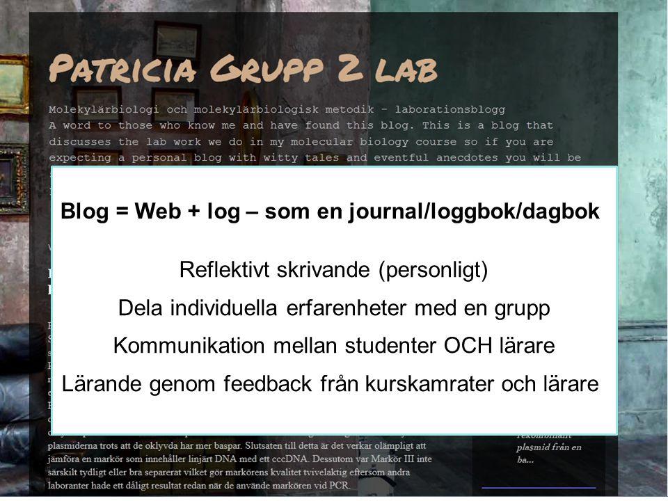 Blog = Web + log – som en journal/loggbok/dagbok