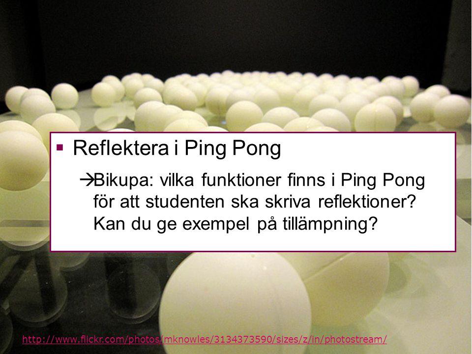 Reflektera i Ping Pong Bikupa: vilka funktioner finns i Ping Pong för att studenten ska skriva reflektioner Kan du ge exempel på tillämpning