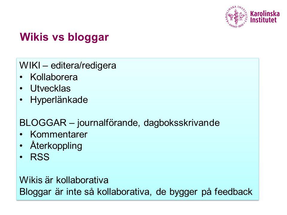 Wikis vs bloggar WIKI – editera/redigera Kollaborera Utvecklas