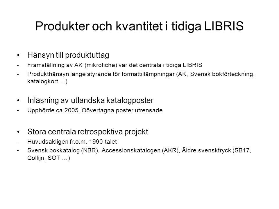 Produkter och kvantitet i tidiga LIBRIS