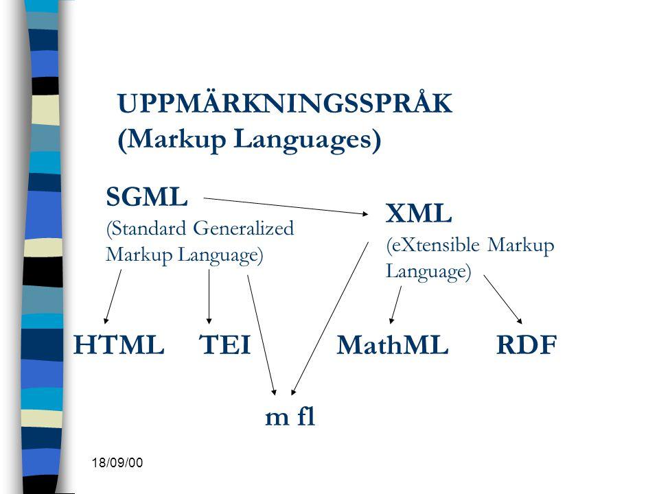 UPPMÄRKNINGSSPRÅK (Markup Languages)