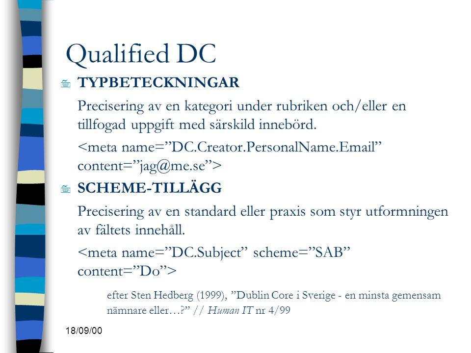 Qualified DC TYPBETECKNINGAR