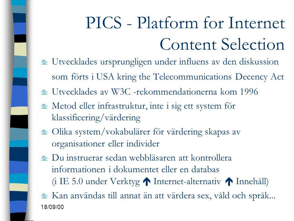 PICS - Platform for Internet Content Selection