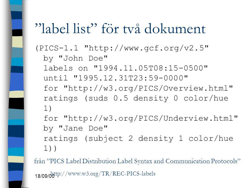 label list för två dokument