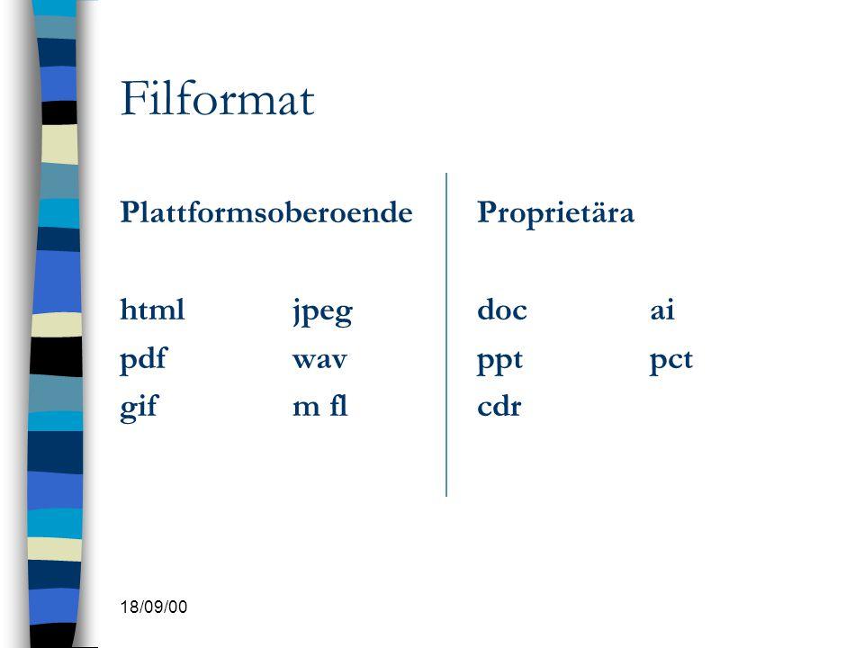 Filformat Plattformsoberoende html jpeg pdf wav gif m fl Proprietära