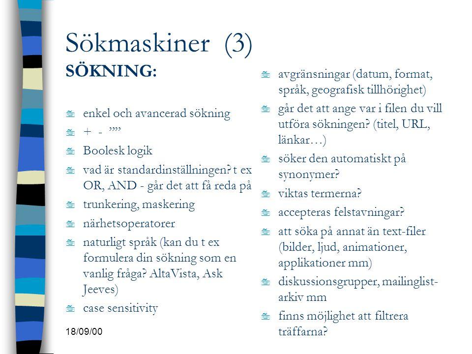 Sökmaskiner (3) SÖKNING: