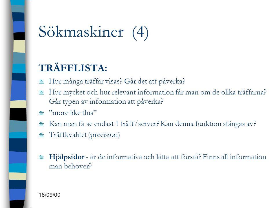 Sökmaskiner (4) TRÄFFLISTA: