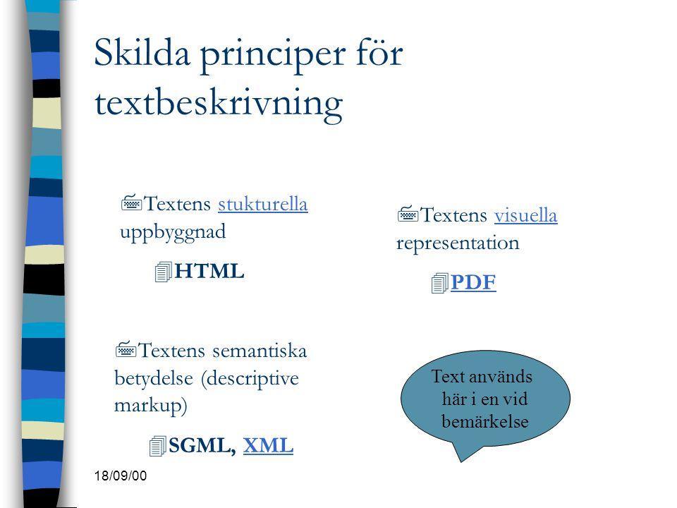 Skilda principer för textbeskrivning