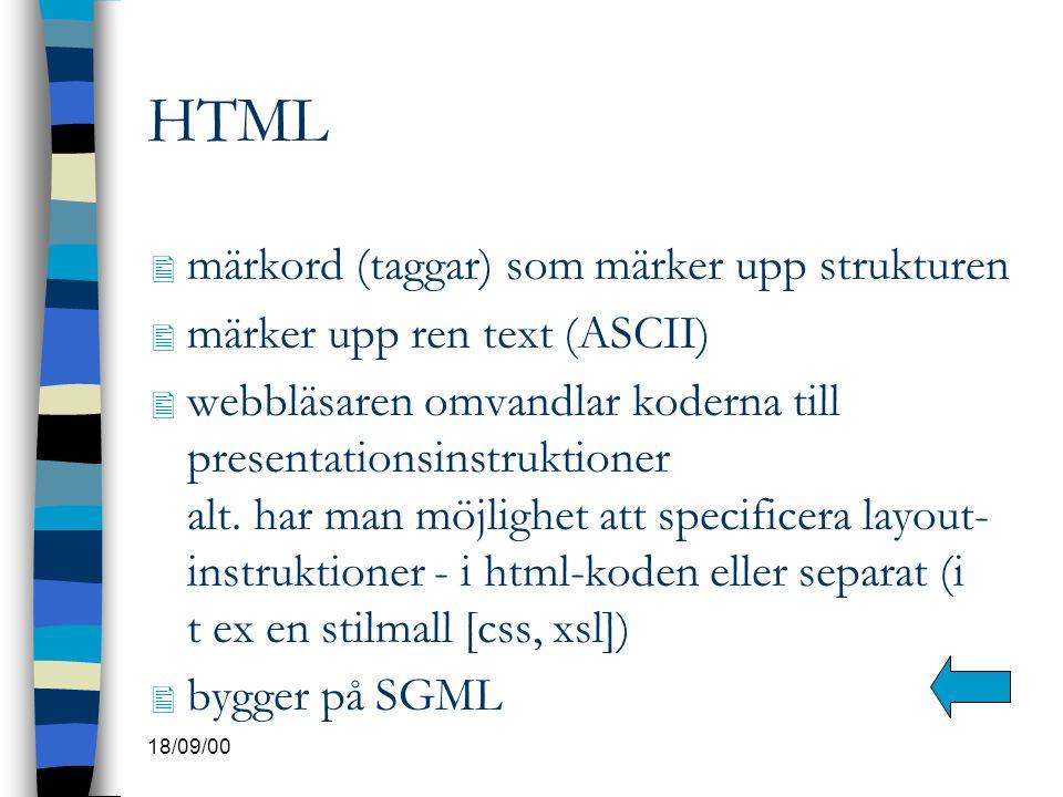 HTML märkord (taggar) som märker upp strukturen
