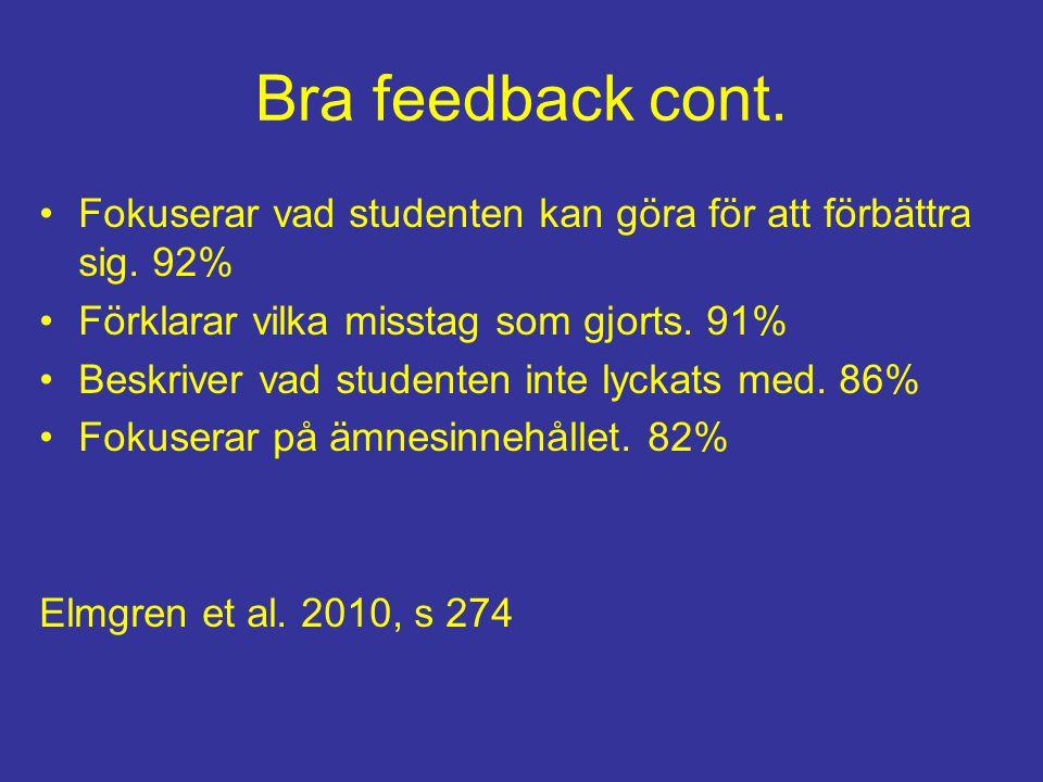Bra feedback cont. Fokuserar vad studenten kan göra för att förbättra sig. 92% Förklarar vilka misstag som gjorts. 91%