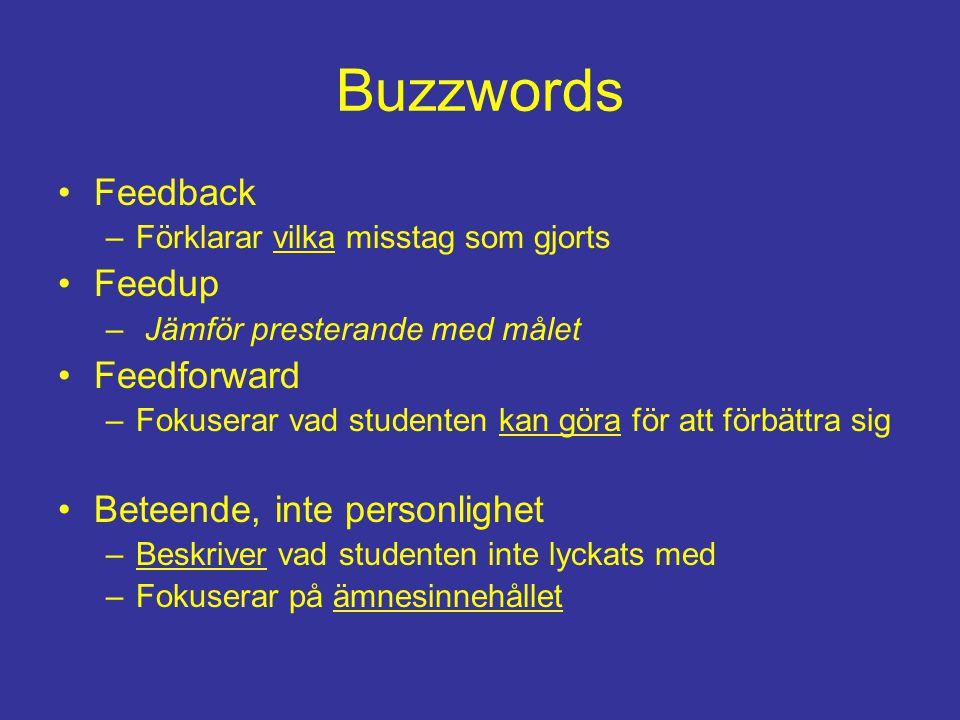 Buzzwords Feedback Feedup Feedforward Beteende, inte personlighet