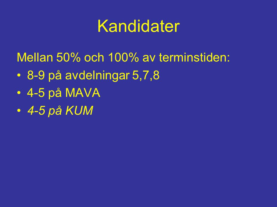 Kandidater Mellan 50% och 100% av terminstiden: