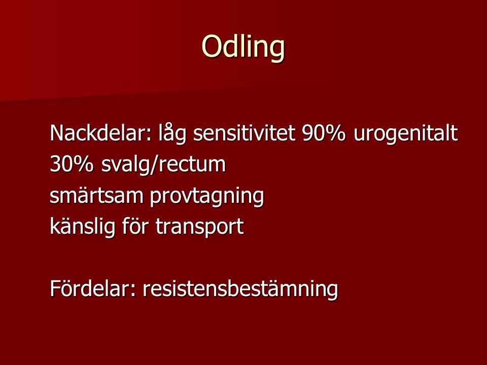 Odling Nackdelar: låg sensitivitet 90% urogenitalt 30% svalg/rectum