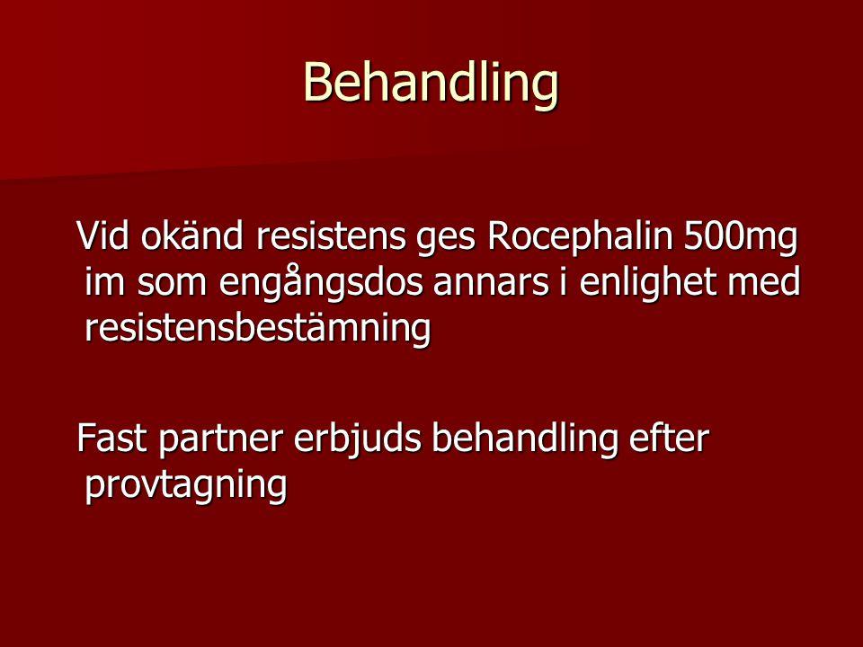 Behandling Vid okänd resistens ges Rocephalin 500mg im som engångsdos annars i enlighet med resistensbestämning.