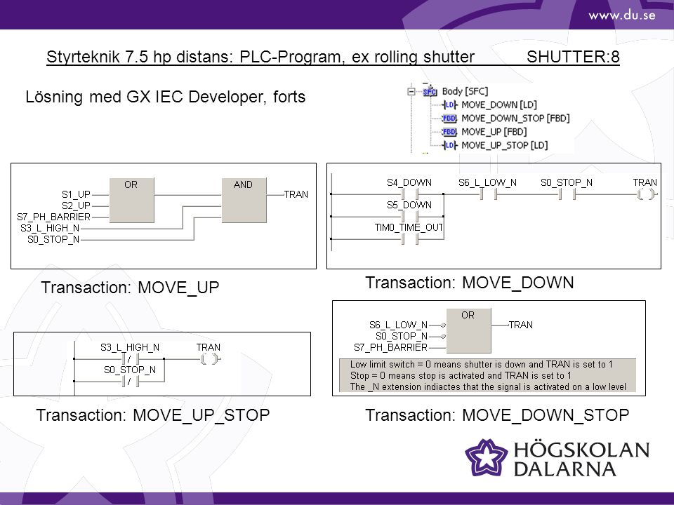 Styrteknik 7.5 hp distans: PLC-Program, ex rolling shutter SHUTTER:8
