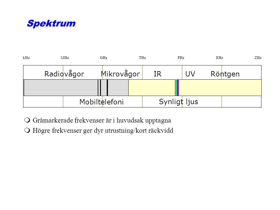 Spektrum Radiovågor Mikrovågor IR UV Röntgen Mobiltelefoni