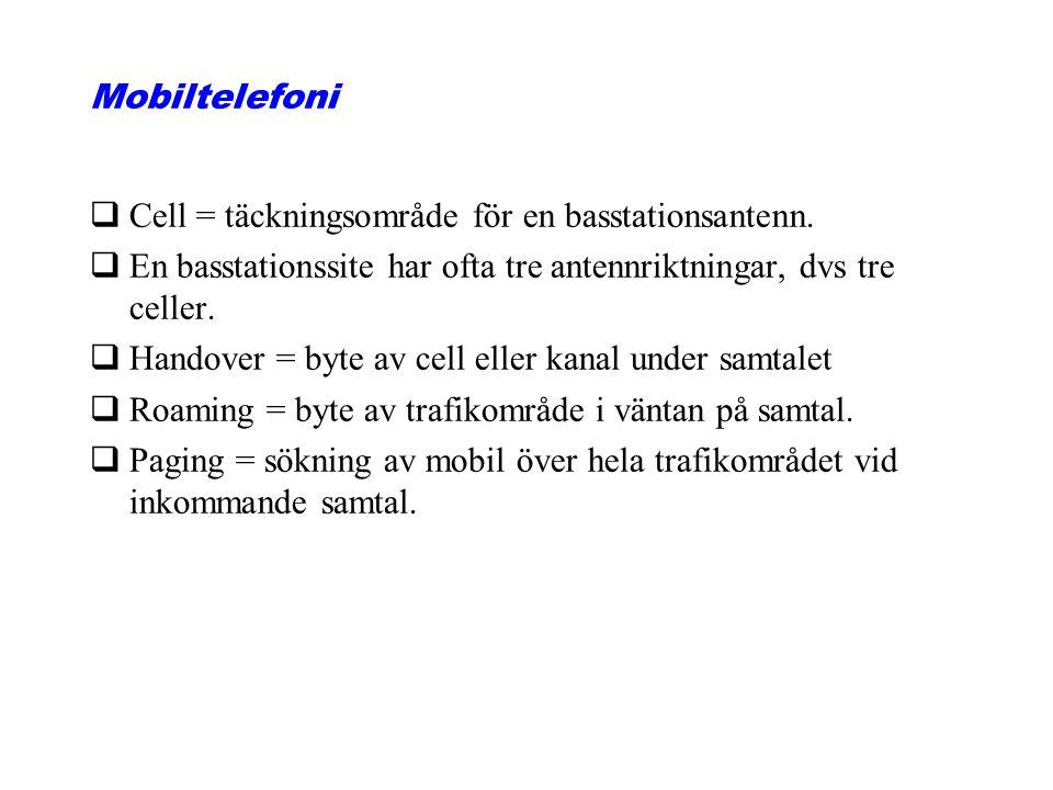 Mobiltelefoni Cell = täckningsområde för en basstationsantenn. En basstationssite har ofta tre antennriktningar, dvs tre celler.