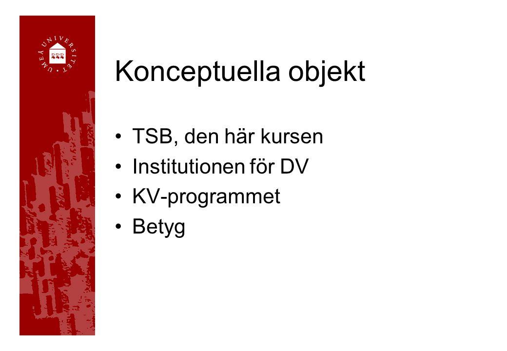 Konceptuella objekt TSB, den här kursen Institutionen för DV