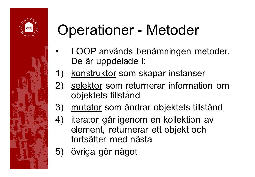 Operationer - Metoder I OOP används benämningen metoder. De är uppdelade i: konstruktor som skapar instanser.