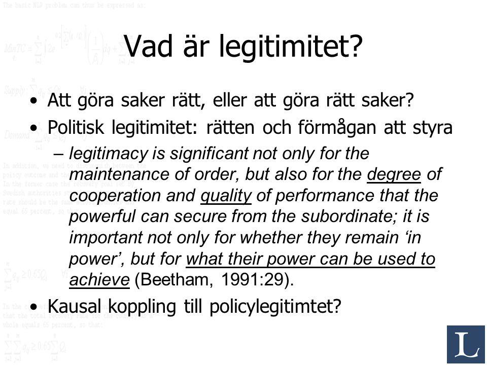 Vad är legitimitet Att göra saker rätt, eller att göra rätt saker