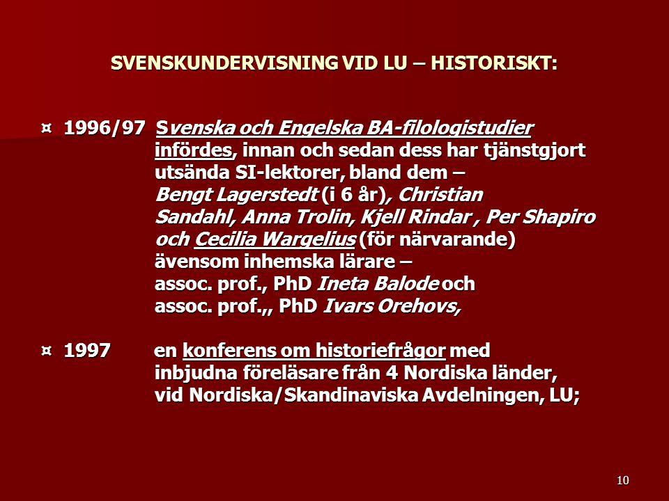 SVENSKUNDERVISNING VID LU – HISTORISKT: