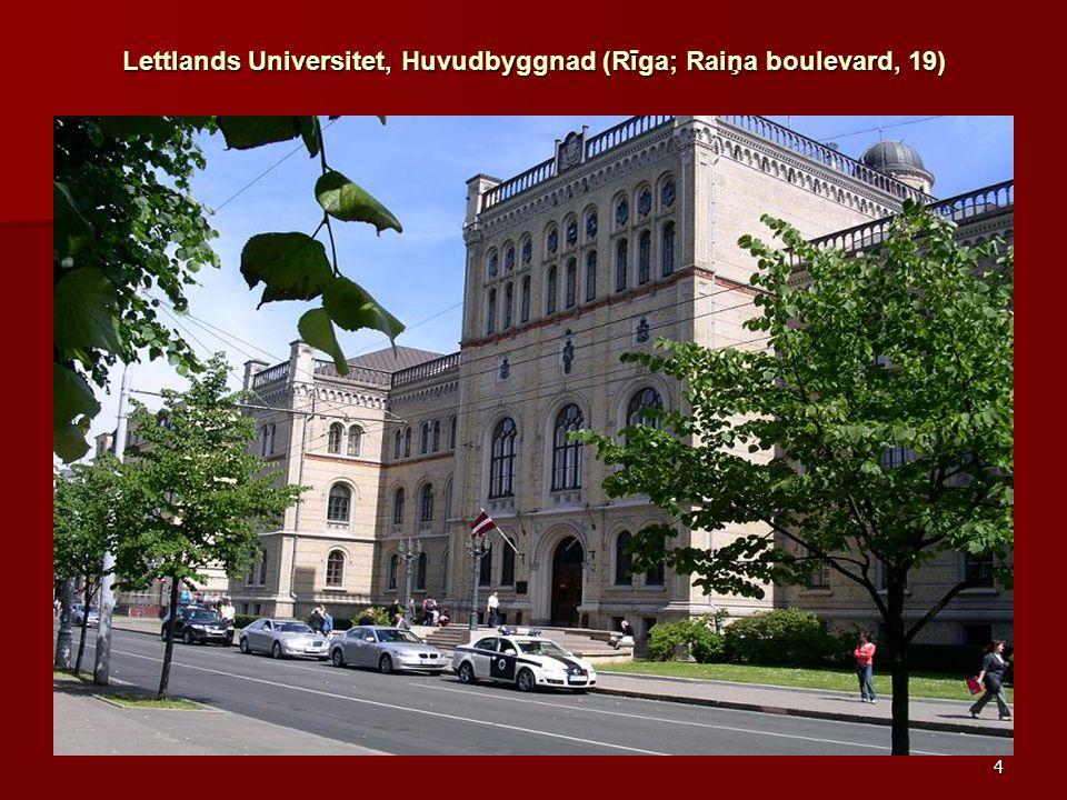 Lettlands Universitet, Huvudbyggnad (Rīga; Raiņa boulevard, 19)