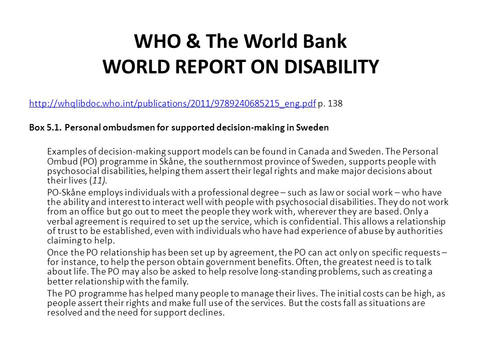 WHO & The World Bank WORLD REPORT ON DISABILITY