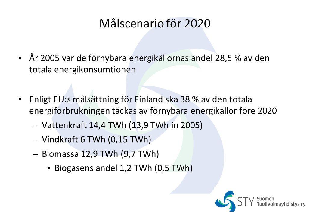 Målscenario för 2020 År 2005 var de förnybara energikällornas andel 28,5 % av den totala energikonsumtionen.