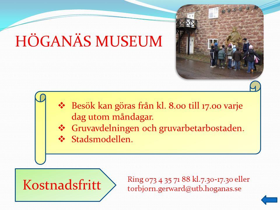 HÖGANÄS MUSEUM Kostnadsfritt