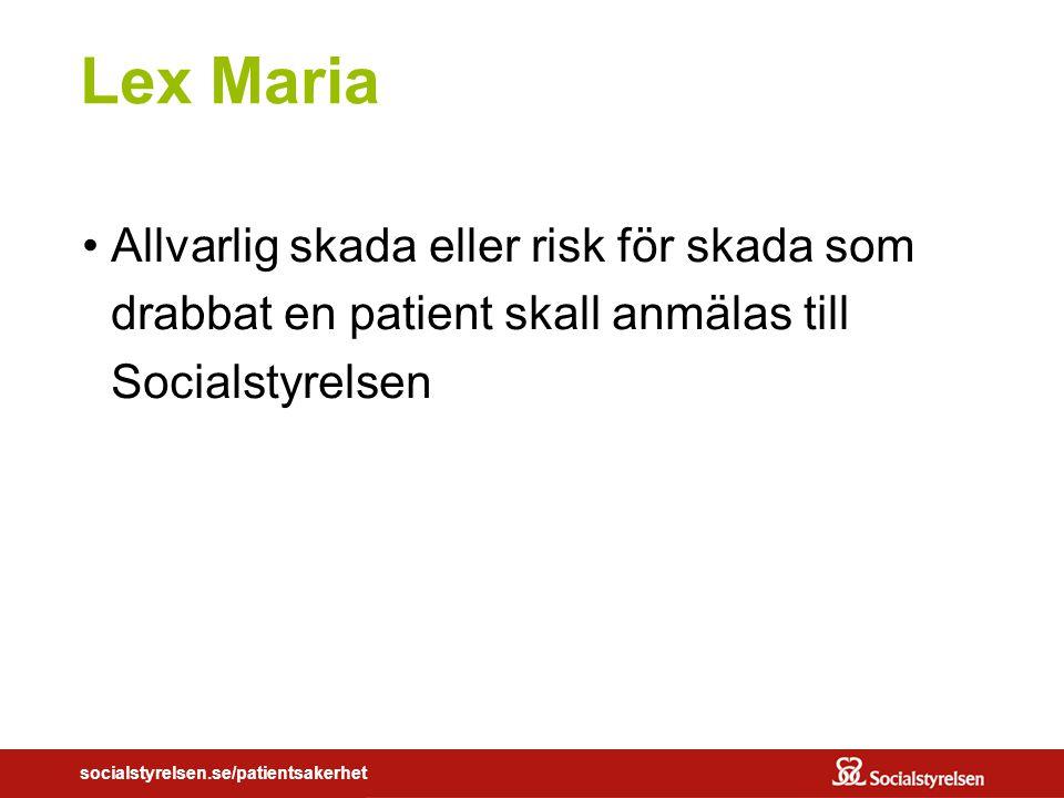 Lex Maria Allvarlig skada eller risk för skada som drabbat en patient skall anmälas till Socialstyrelsen.